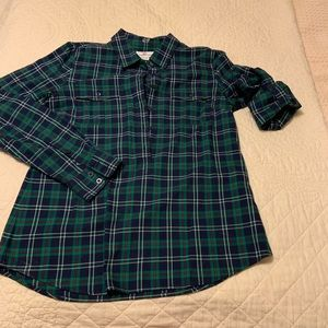 Vineyard Vines Plaid Popover Rolled Sleeve Size 10